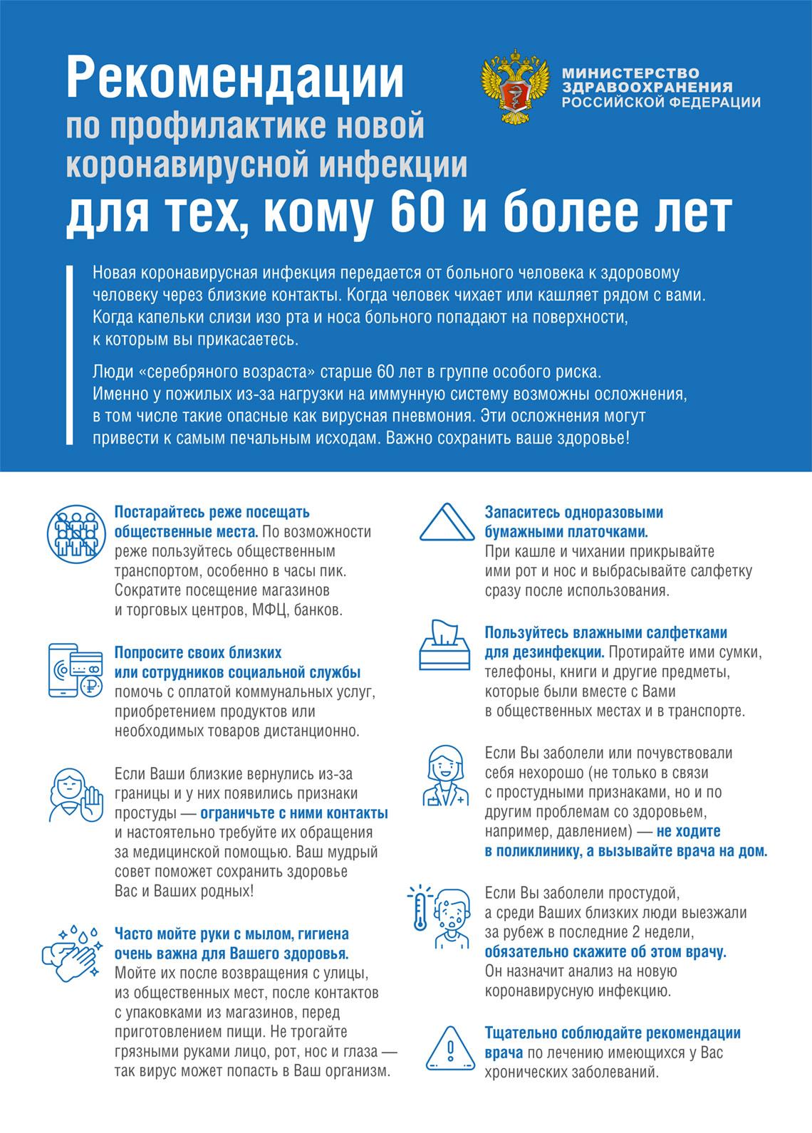 Профилактика кононовируса COVID-19 тем кому за 60 лет